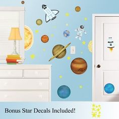 In Outer Space & Outerspace Large Wall Decals / Stickers Set PLUS bonus mini sheet of Star Decals! by Decor by HDC, http://www.amazon.com/dp/B0095JW9GK/ref=cm_sw_r_pi_dp_MDSbrb0DB8BBC
