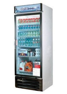 Turbo Air TGM22RV 22 cu. ft. Glass Door Merchandiser Refrigerator with Energy Conserving Fan Control Double Pane Glass Doors High Density PU Insulation and Adjustable Shelves: