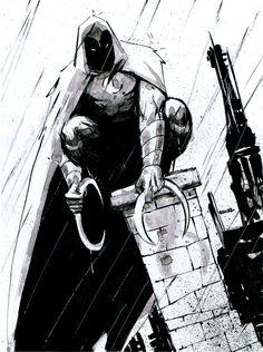 Moon Knight Commission #comics #marvel #moonknight #marcspector #kanshu #sketch #commissionart #illustration #inkwash #sketchamadoodle #joelgomez