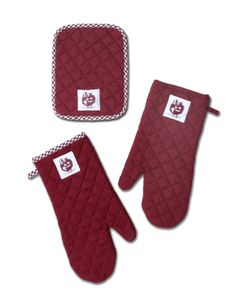 100% quilted dyed cotton pot holders and oven mittens. Personalized with logo Custom made-to-order in any color Eugenia Kids Collection - Austin, Texas