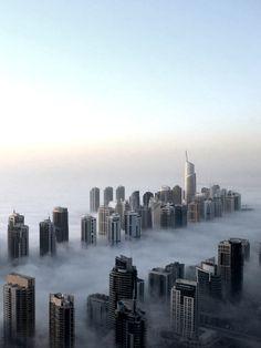 architizer: Dubai, Morning fog. Tumblr. Thevuas