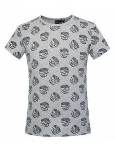 Armani camiseta hombre estampada gris