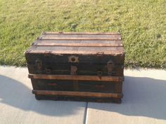 Antique Steamer Trunk with Inserts by EastIdahoCompany on Etsy, $199.00