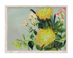 """Pincushion Protea Painting"" - Art Print by Debra Bianculli in beautiful frame options and a variety of sizes."