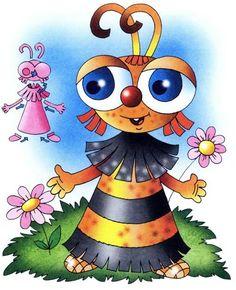 Детские поделки из цветной бумаги с шаблонами. Схема 10 - пчелка. Инструкция