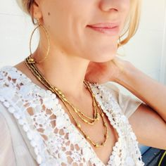 gold wrap necklace, gold hoops
