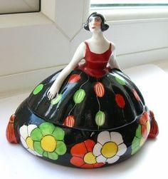 Vintage Art Deco Lady Trinket Box   eBay