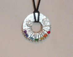 Metal Washer Necklace Metal Washer Pendant Wire by FromMyCottage