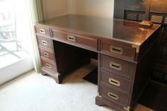 Ooh, or THIS:  Beautiful Antique Hekman Solid Wood Executive Desk,  $325, Mt Vernon