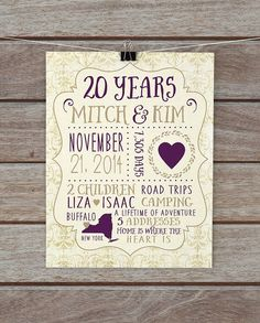 20 year anniversary anniversary present custom gift for husband wife any year 20th anniversary gift for