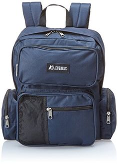 Everest Backpack with Front Bottle Holder, Navy, One Size