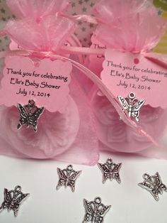 30 Butterfly Baby Shower or Party Favors -Handcrafted Soap in an Organza Bag with Tag and Charm by DesignsbyMJAnderson on Etsy