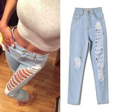 861fc45d402 Beggar Hole Jeans Women Denim Pants Hippie Trousers E134