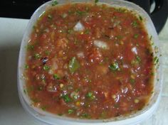 Pappasito's Copy Cat Salsa. Has that roasted veggie flavor.  Serve warm, just like they do at Pappasito's.