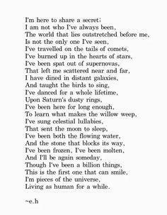 My very favorite Erin Hanson poem, because this is my spiritual belief ...