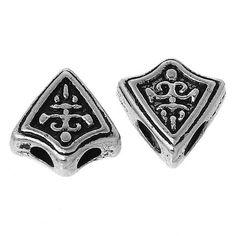 BD114 - Antique Silver Shield BeadBeads - Kismet Mosaic - 1