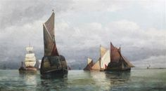 Hay barge off the coast - Frederick James Aldridge - Artist, Fine Art Prices, Auction Records for Frederick James Aldridge