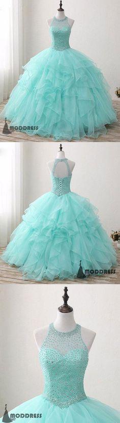 7c889d14decea Green Long Prom Dress Beading Halter Ball Gowns Sleeveless Evening Dress ,HS384