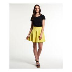 Superdry Premium Scuba Skater Skirt ($43) ❤ liked on Polyvore featuring skirts, yellow, yellow skirt, white floral skirt, floral print skirt, floral knee length skirt and skater skirt