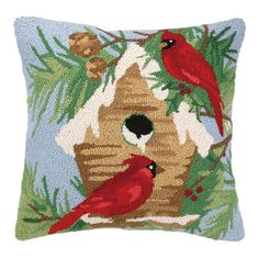 $38.95 18x18 Bring a touch of cheer to your sofa or favorite reading nook with this charming wool pillow, featuring a holiday-inspired motif.  Pro...