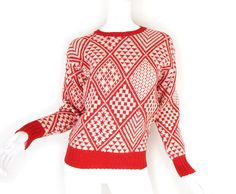 Vintage Red and White Italian Wool Women's Sweater - Small - 70s 80s Diamond Pattern Pullover Ski Sweater Jumper