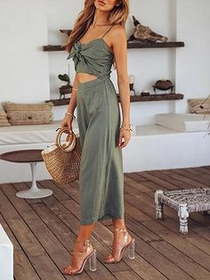 bdb47285e89 Green Cotton Blend Tie Front Cut Out Detail Chic Women Romper Jumpsuit
