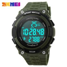 Skmei 1112S Function Pedometer And Heart Rate Men's Army Led Watches Fashion 5ATM Waterproof Sports Digital Watches Military