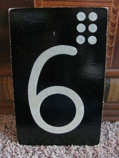 Vintage Black Number Flash Card - 6, this would be fun to duplicate on wood for the wall.