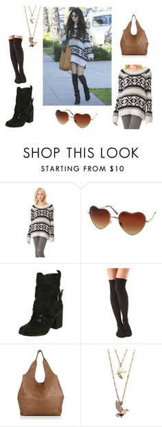 """""""Get The Look: Selena Gomez """"Oversized Jumper"""" Outfit"""" by albamonkey ❤ liked on Polyvore featuring Free People, Almost Famous, Fergie and Falke"""