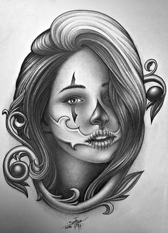 Clown Face Tattoo, Girl Face Tattoo, Girl Tattoos, Cholo Tattoo, Chicanas Tattoo, Art Chicano, Chicano Drawings, Girl Drawing Pictures, Pictures To Draw