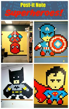 Post-it Note Superheroes! — Every Hero Has a Story — Super fun display for your library, classroom or superhero party! Superhero Classroom Theme, Superhero Party, Classroom Themes, Pixel Art, Superhero Art Projects, Teen Library, Library Ideas, Post It Art, Library Displays
