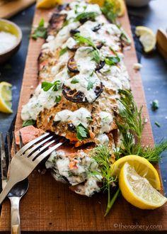 Cedar Plank Salmon with Herb Yogurt   TheNoshery.com