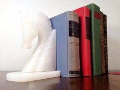 Vintage HORSE BOOKENDS - Marble bookends - Onyx bookends - Chess Pieces on Etsy, $14.00