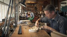 A typical morning in #StudioCity. Two #violinmakers are deep in concentration, crafting beautiful things. #violins
