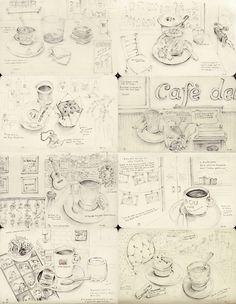 Cafe sketching | cosasdecristal.tumblr.com