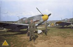 The second of a series of three photos showing an unidentified German soldier next to (probably) 'Yellow 2', a Bf 109-F from 9./JG 52. In the other two photos he is accompanied by fighter ace Hermann Graf, the first pilot to achieve 200 aerial victories during WW2, ending it with a total of 212 'kills'.