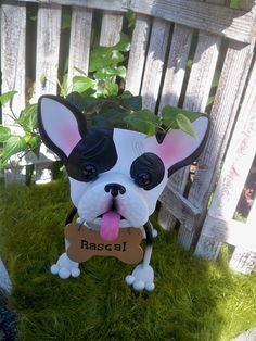 Personalized French Bull Dog Garden Planter by IngridsSecretGarden, $40.00