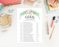 Instant Download Delicate Bouquet Celebrity Baby Names Game Cards by fineanddandypaperie on Etsy