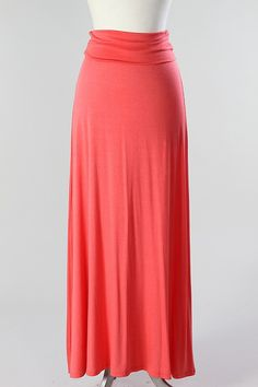 Jersey Fitted Maxi skirt with a folded waist.    Medium measures around 42'' in length unfolded  And 39 1/2 folded over.