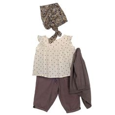 baby girl outfit  // subtle pattern, mostly neutral solids  Bonpoint Boutique