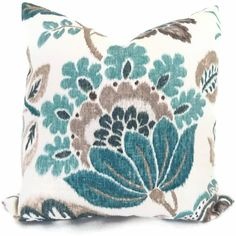 Turquoise, Teal and Gray Jacobean Floral  Pillow Cover 18x18, 20x20 or 22x22. $46.00, via Etsy.