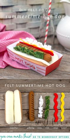 Craft this classic summertime favorite for your kid's felt food collection! Includes pattern and tutorial for a felt hot dog, felt toppings, and a paper hot dog tray.