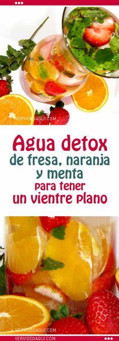Agua detox de fresa, naranja y menta para tener un vientre plano