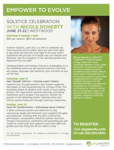 Village, CA Summer Solstice is a time to celebrate our consciousness and to reflect upon our own inner light. A day when we have the most light in the year, which symbolizes the process of triumph over our sh… Click flyer for more >>