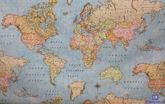 Tela de Mantel Resinado Antimanchas Mapa Mundi