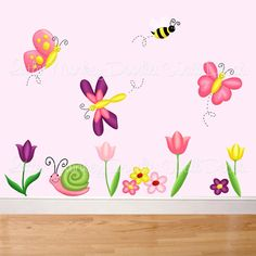 Tulip Butterfly Garden Large WALL DECALS Girl's Bedroom Baby Nursery Art Decor. $95.00, via Etsy.