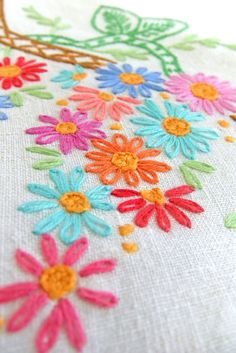 Large Embroidered Tablecloth  Hand Embroidered by peonyandthistle, $58.80