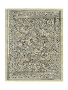 Radha Krishna and Krishnas Dashavataram on Pattachitra Palm Leaf Painting 10in x 8in