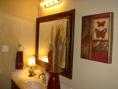 Bold red Guest Bathroom, This is my Guest Bathroom decorated in Brown  - Bold bathroom decorating ideas