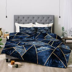 Buy Comforter with Blue Stone designed by Elisabeth Fredriksson. One of many amazing home décor accessories items available at Deny Designs. Master Bedroom Interior, Small Room Bedroom, Room Ideas Bedroom, Bedroom Sets, Home Bedroom, Diy Bedroom Decor, Blue Comforter Sets, Girls Bedding Sets, Dream Rooms